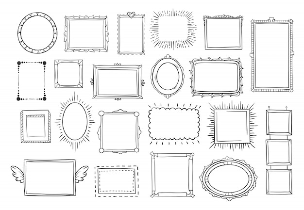 Vintage doodle esboçar frames de retrato