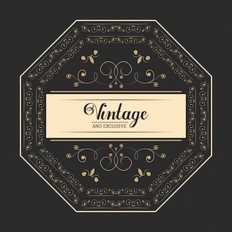 Vintage e exclusivo emblema legant de luxo fundo escuro