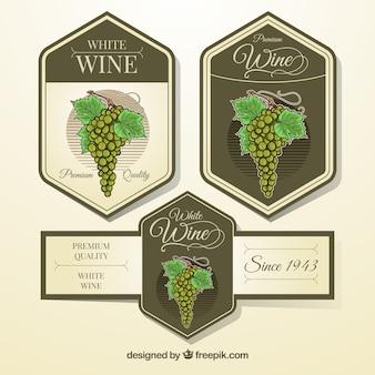 Vintage, etiquetas, cachos, uvas