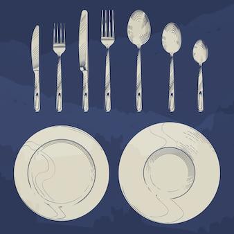 Vintage faca, garfo, colher e pratos no estilo de gravura de desenho. cenografia de talheres