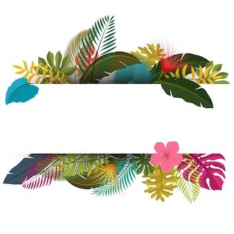 Vintage floral das folhas tropicais