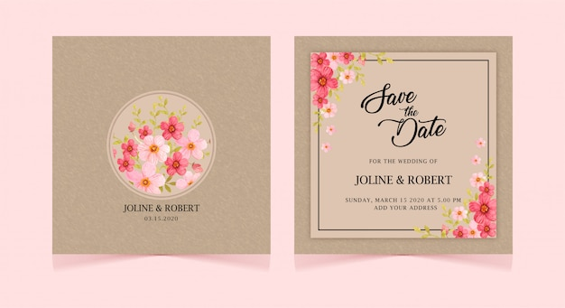 Vintage floral de cartão de convite