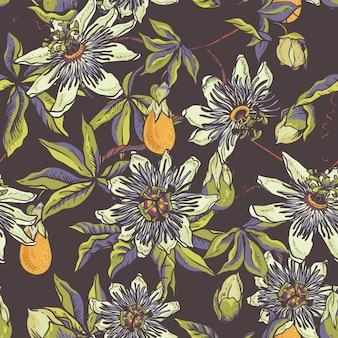 Vintage floral natural padrão sem emenda. cartão passiflora, flores, folhas