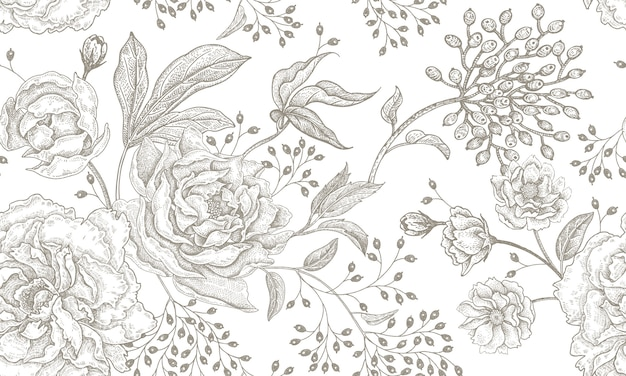 Vintage floral padrão sem emenda.