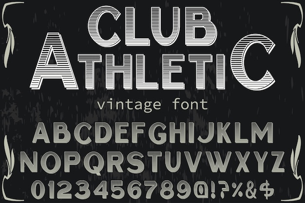 Vintage font handcrafted clube atlético