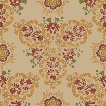 Vintage gasto padrão floral vitoriano padrão de vetor sem costura com grunge e arranhões