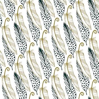 Vintage gold plumas de fundo sem costura. ilustração desenhada à mão. fundo boémio das penas tribais do vintage.