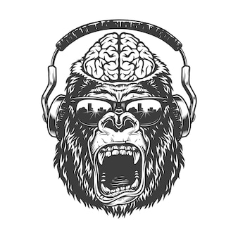 Vintage gorila monocromático com fones de ouvido.