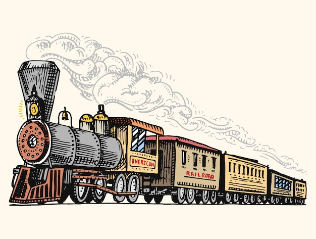 Vintage gravado, mão desenhada, velha locomotiva ou trem com vapor na estrada de ferro americana. transporte retrô.