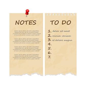 Vintage grunge rasgou as páginas do caderno para anotações e para fazer a lista