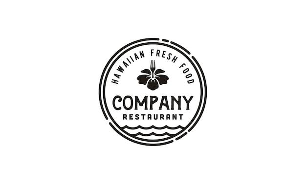 Vintage hawaii restaurante / poke bar logo emblem