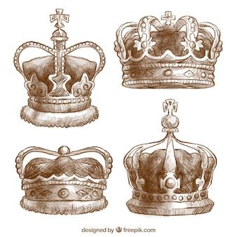 Vintage, jogo, quatro, elegante, coroas