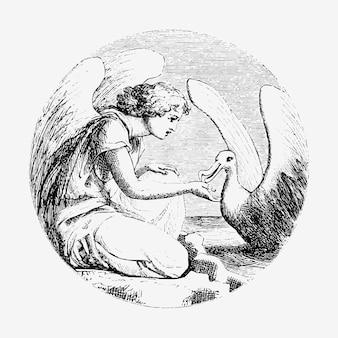Vintage leda e a ilustração da cisne