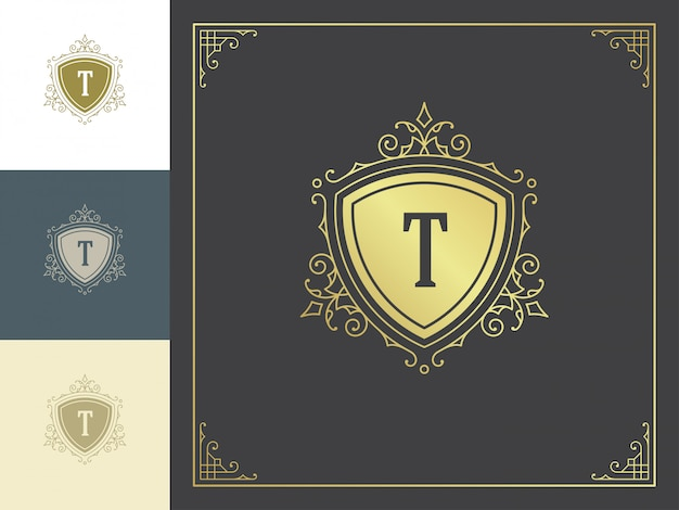 Vintage logotipo monograma modelo dourado elegante floresce ornamentos.