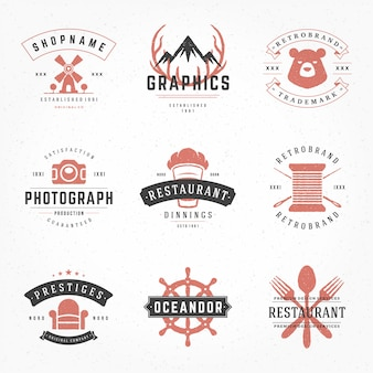Vintage logotipos e emblemas tipográficos com mão desenhada estilo silhuetas e símbolos conjunto