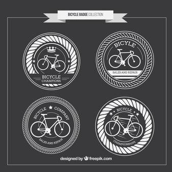 Vintage mão arredondada desenhada bicicletas emblemas