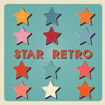 Vintage metal star icon sign- 3d retro tipo fonte