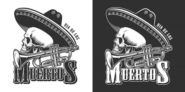 Vintage mexicano dia dos mortos emblema