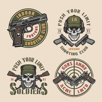 Vintage militar e emblemas coloridos do exército