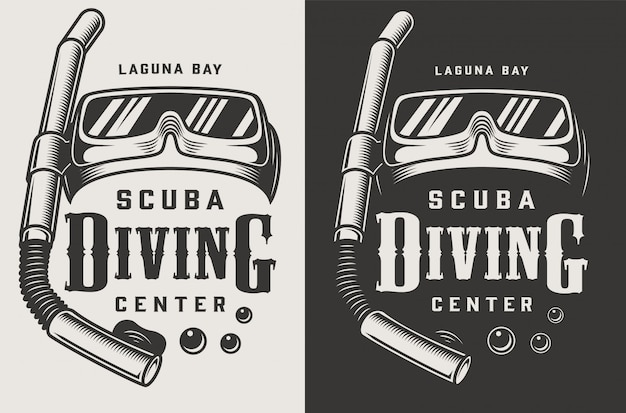 Vintage monocromático centro de mergulho logotipos