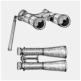 Vintage monocular binocular, gravado mão desenhada no estilo de corte ou desenho de madeira, velho instrumento scinetific retrô para explorar e descobrir.