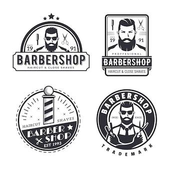 Vintage monotone barbershop logo set