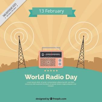 Vintage mundo fundo do dia de rádio