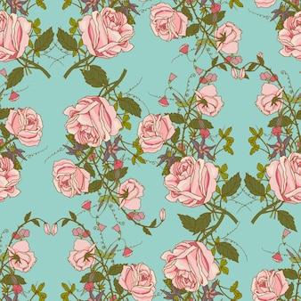 Vintage, nostálgico, lindas, rosas, cachos, composição, romântico, floral, casamento, presente, embrulho, papel, seamless, padrão, cor, vetor, ilustração