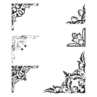 Vintage ornament frame elementos decorativos de borda de canto
