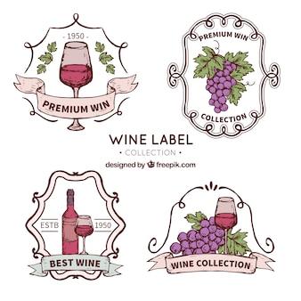 Vintage, pacote, decorativo, vinho, etiquetas