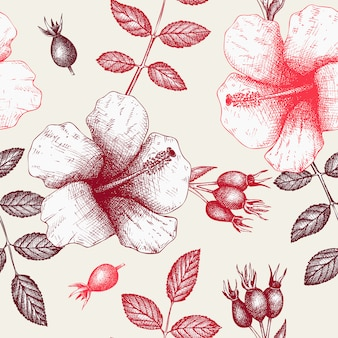 Vintage padrão com ingredientes de chá de ervas - hibisco e cachorro rosa.