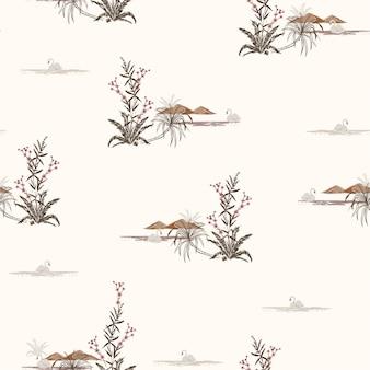 Vintage padrão sem emenda com cisnes de pássaros no lago, flores e montanhas.