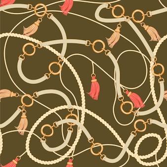 Vintage padrão sem emenda com correntes de ouro