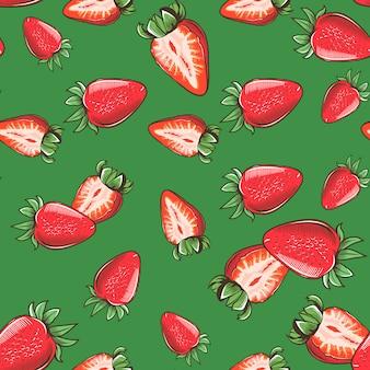 Vintage padrão sem emenda com morangos sobre um fundo verde. ilustração colorida.