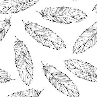 Vintage padrão sem emenda com penas desenhadas à mão