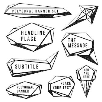 Vintage preto monocromático poligonais rótulos grunge textura decoração banners em fundo branco