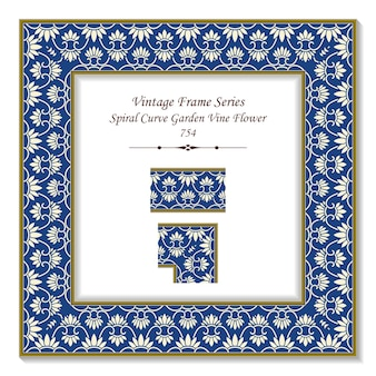 Vintage quadrado 3d quadro espiral curva jardim videira flor cadeia, estilo retro.