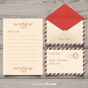 Vintage querida santa natal carta e envelope conjunto