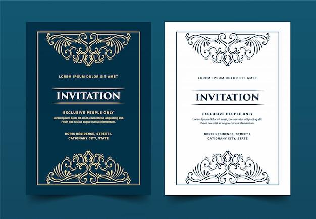 Vintage retro antigo victorian real e luxuoso conjunto de cartão de convite para aniversário de casamento modelo de cartão de celebração de festa de aniversário