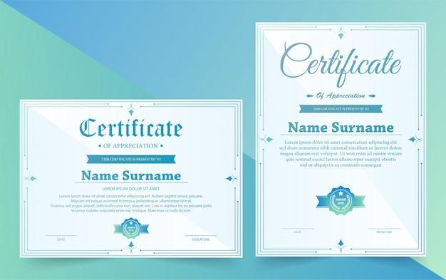 Vintage retrô de certificado elegante diploma