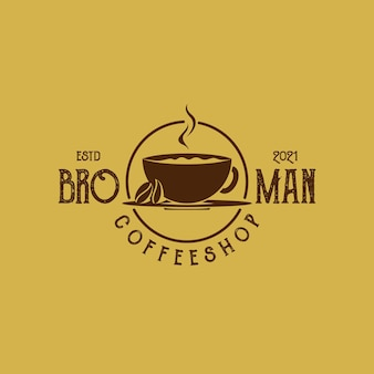 Vintage retrô rústico café emblema etiqueta distintivo carimbo logotipo com grãos de café