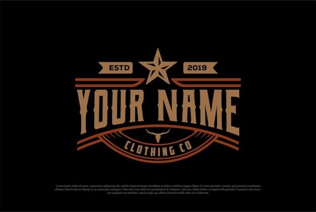 Vintage retro texas estrela emblema emblema etiqueta logo design vector