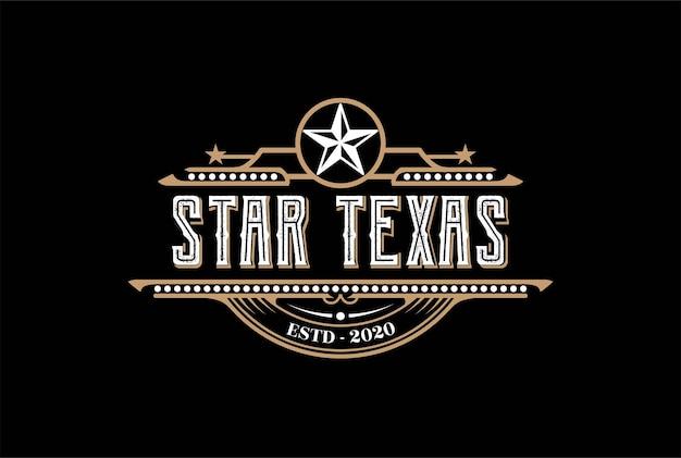 Vintage retro western country emblema texas star para bar saloon logo design vector