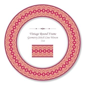 Vintage round retro frame geometry stitch line trançado, estilo antigo