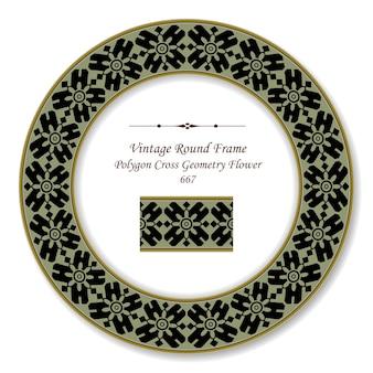 Vintage round retro frame polígono cruz geometria flor, estilo antigo