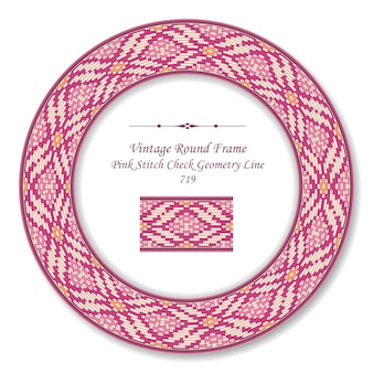 Vintage round retro frame ponto rosa check geometry line, estilo antigo
