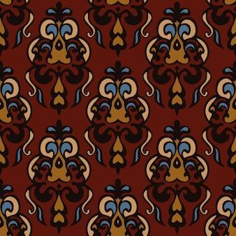 Vintage seamless pattern rapport damasco floral. florescer estilo de design