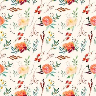 Vintage sem costura vintage clássico padrão floral com aquarela