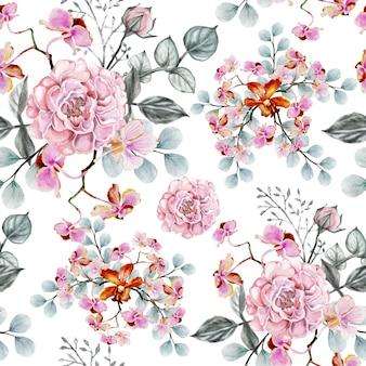 Vintage sem emenda de rosa das flores do teste padrão.