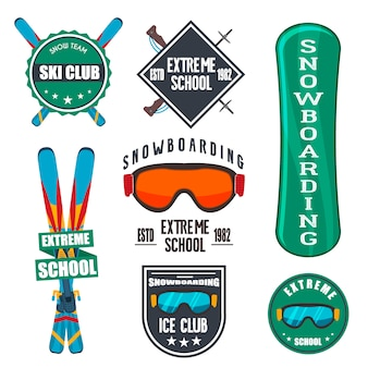 Vintage snowboard ou emblemas de esportes de inverno.